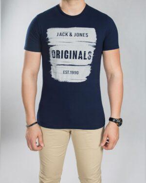 تی شرت نخی مردانه - سرمه ای تیره - رو به رو