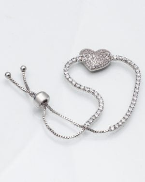 دستبند قلب نگین دار دخترانه - نقره ای - دستبند زنانه