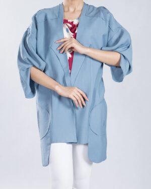 مانتو آستین کیمونو کوتاه - آبی آسمانی - رو به رو