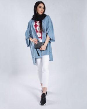 مانتو آستین کیمونو کوتاه - آبی آسمانی - محیطی