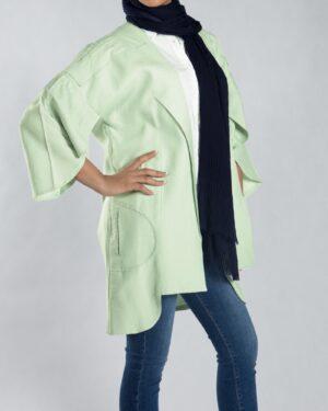 مانتو آستین کیمونو کوتاه - سبز پاستیلی - سه رخ