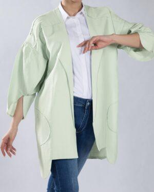 مانتو آستین کیمونو کوتاه - سبز پاستیلی - مانتو جلو باز