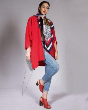مانتو آستین کیمونو کوتاه - قرمز - محیطی زنانه