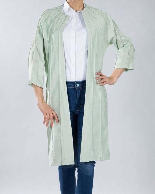 مانتو خط دار بلند - سبز پاستیلی - مانتو جلو باز