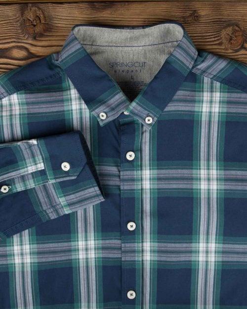 پیراهن آستین بلند اسپرت چهارخانه - سرمه ای تیره - آستین یقه