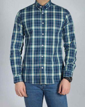 پیراهن آستین بلند مردانه چهارخانه - سرمه ای تیره - رو به رو