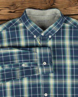 پیراهن آستین بلند مردانه چهارخانه - سرمه ای تیره - یقه آستین