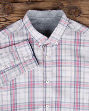 پیراهن آستین بلند مردانه چهارخانه - طوسی کمرنگ - یقه آستین