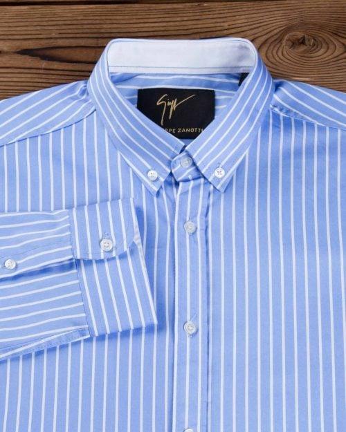 پیراهن اسپرت راه راه مردانه - آبی روشن - پیراهن آستین بلند
