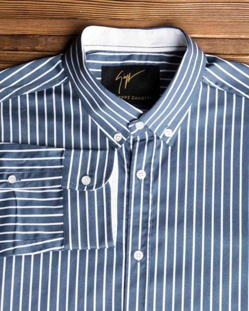 پیراهن اسپرت راه راه مردانه - سربی تیره - یقه آستین