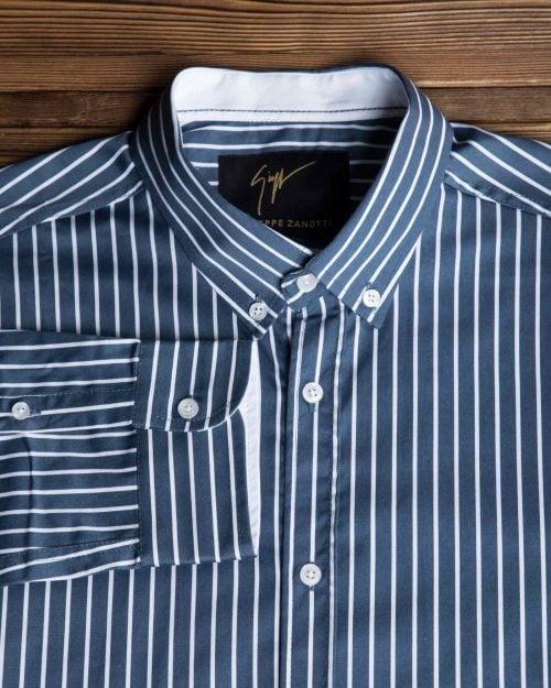 پیراهن اسپرت راه راه مردانه - سرمه ای - یقه آستین
