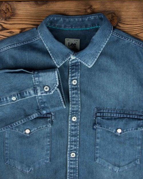 پیراهن جین دو جیب مردانه - آبی نفتی - آستین یقه مردانه