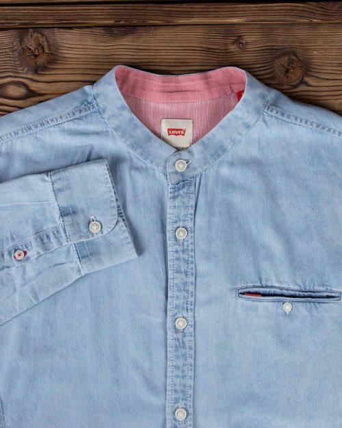 پیراهن جین یقه دیپلمات مردانه - آبی روشن - آستین یقه دیپلمات