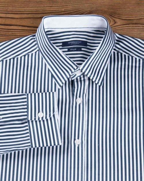 پیراهن راه راه سرمه ای سفید مردانه - سفید - پیراهن آستین بلند