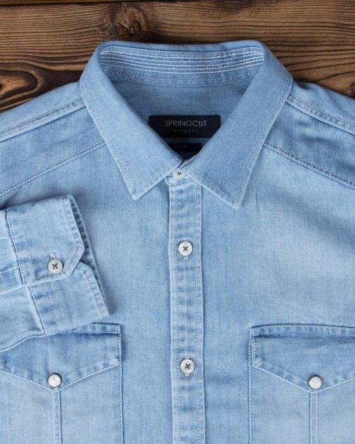 پیراهن مردانه جین آبی روشن - آبی روشن - آستین یقه مردانه