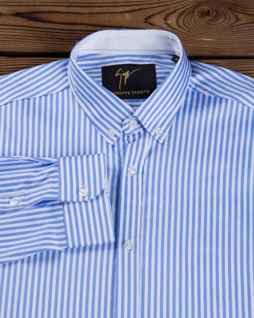 پیراهن مردانه راه راه آبی سفید - آبی روشن - یقه آستین