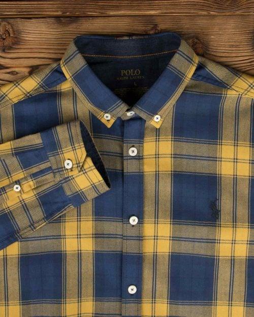 پیراهن چهارخانه درشت مردانه - عسلی - آستین و یقه