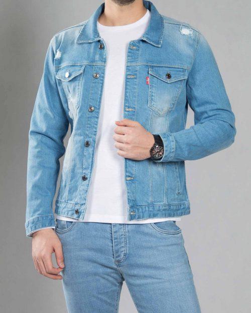 کت جین زاپ دار مردانه - آبی روشن - جلو