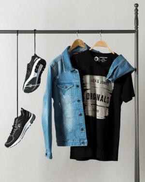 کت جین زاپ دار مردانه - آبی روشن - محیطی