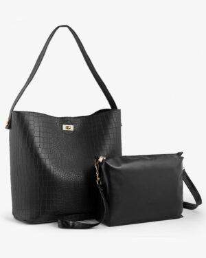 کیف دستی بزرگ زنانه مشکی - مشکی - ست کیف