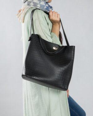 کیف دستی بزرگ زنانه مشکی - مشکی - محیطی