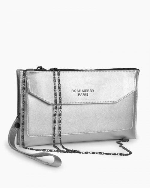 کیف دستی زنانه کوچک - نقره ای - کیف دستی بند دار