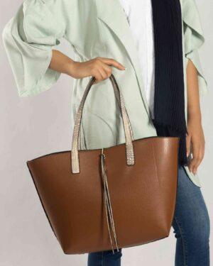 کیف دستی پوست ماری اسپرت - قهوه ای - محیطی