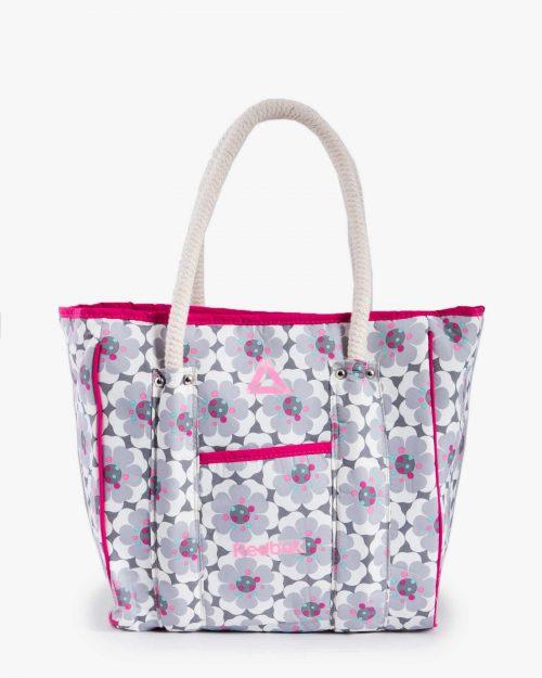 کیف دوشی اسپرت زنانه گلدار - سفید - رو به رو