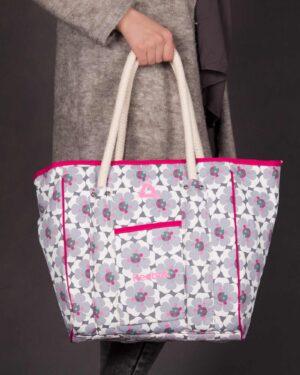 کیف دوشی اسپرت زنانه گلدار - سفید - محیطی زنانه