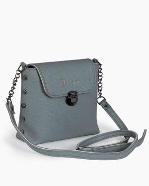 کیف دوشی کوچک زنانه - طوسی کمرنگ - رو به رو