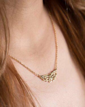 گردنبند دخترانه استیل طرح پروانه - طلایی - محیطی زنانه