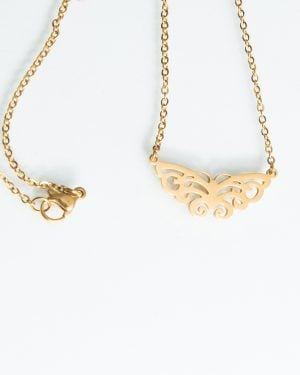 گردنبند دخترانه استیل طرح پروانه - طلایی - گردنبند زنانه