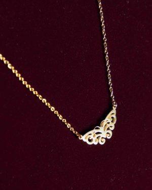 گردنبند دخترانه استیل طرح پروانه - طلایی - گردنبند