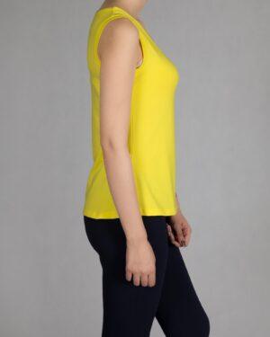 تاپ زنانه ساده یقه خشتی - زرد - بغل