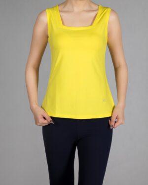 تاپ زنانه ساده یقه خشتی - زرد - رو به رو