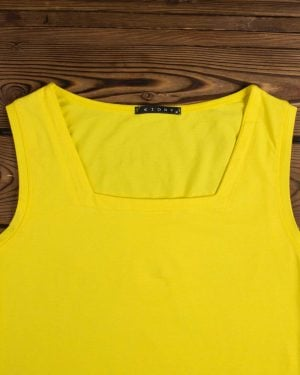 تاپ زنانه ساده یقه خشتی - زرد - یقه خشتی