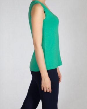 تاپ زنانه ساده یقه خشتی - سبز چمنی - بغل