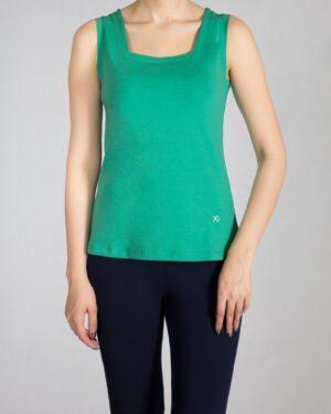 تاپ زنانه ساده یقه خشتی - سبز چمنی - رو به رو