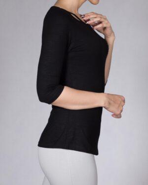 تی شرت زنانه نخی ساده - مشکی - بغل