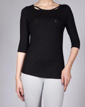 تی شرت زنانه نخی ساده - مشکی - رو به رو