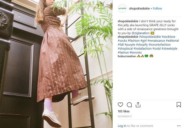جوراب زنانه رنگی مارک اوکی دوکی در اینستاگرام