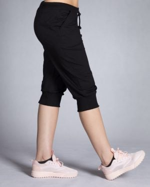 شلوارک زنانه ورزشی بلند - مشکی - بغل
