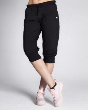 شلوارک زنانه ورزشی بلند- مشکی-روبرو