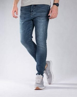 شلوار جین زخمی مردانه - آبی نفتی - رو به رو