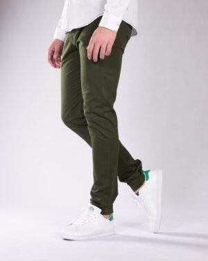 شلوار کتان سبز مردانه - سبز ارتشی - بغل