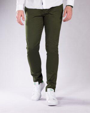 شلوار کتان سبز مردانه - سبز ارتشی - رو به رو