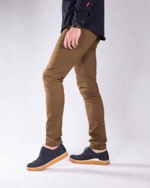 شلوار کتان مردانه اسپرت - قهوه ای روشن - بغل شلوار