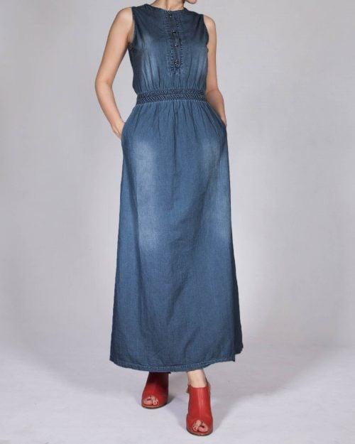 پیراهن بلند جین زنانه - آبی نفتی - رو به رو