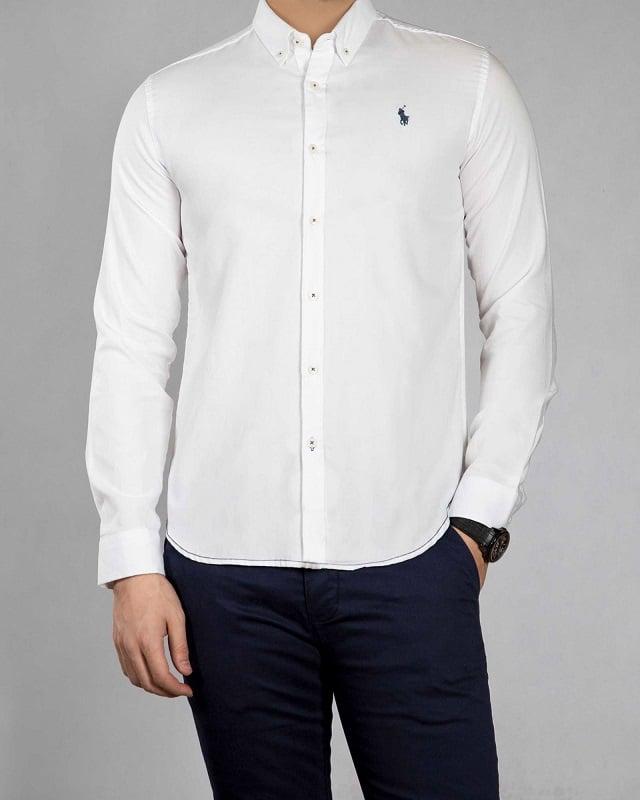 پیراهن مردانه اکسفورد سفید با طرح پولو مشکی
