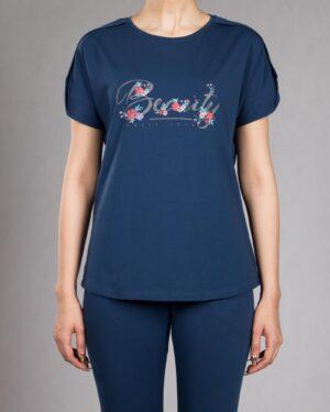 تیشرت دخترانه طرح نوشته - آبی کاربنی - رو به رو